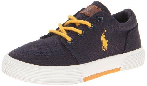 Polo Ralph Lauren Kids Faxon Ii Lace-Up Sneaker (Toddler/Little Kid/Big Kid),Navy/Yellow,2 M Us Little Kid