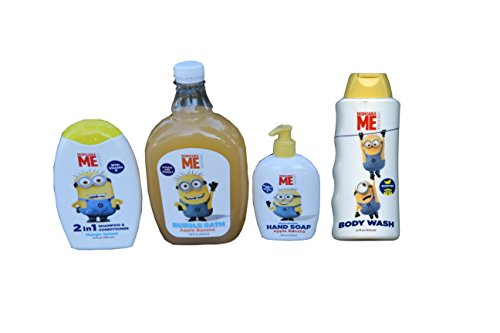 Apple Banana Mango Despicable Me 4 Pack Kit (Wash, Soap, Bath, Shampoo) (Pack of 4 Bottles)