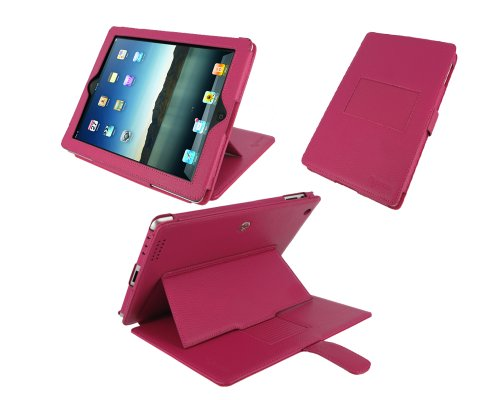 rooCASE Convertible Premium Leather (Magenta) Case Cover with 24 Angle Adjustable Stand for Apple iPad 2 Wifi / 3G Model 16GB, 32GB, 64GB