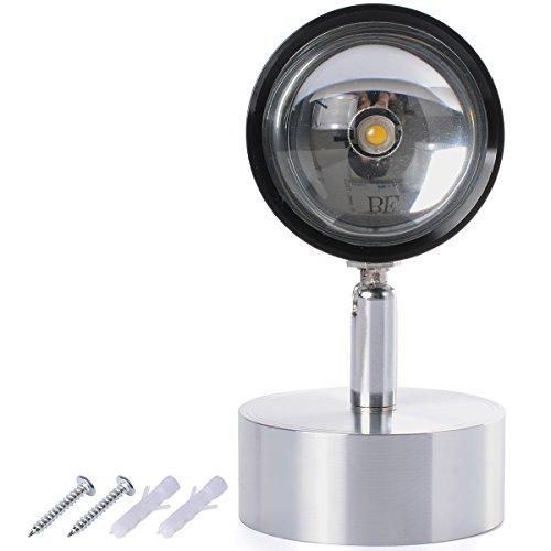 RedSonics(TM) 3W AC85-265V LED Wall Sconce Spot Light Hall Button Lamp Fixture Angle Rotatable 360 degree Living room Warm White LD523