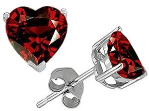 Star K 7mm Heart Shape Genuine Garnet Earrings Studs