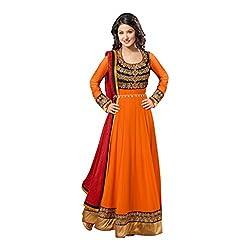 Parabdhani Fashion Women's Georgette Semi Stitched Suit (PBF_DM_164_Orange_Free Size)