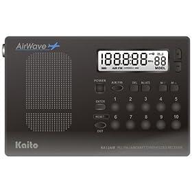 Kaito KA12AIR PLL Digital FM & Aircraft Band Radio, Black