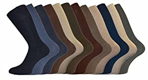 Mens Cotton Loose Wide Top Socks Size 6-11 Fashion 12 Pack