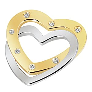 Goldmaid Damen-Anhänger Herzen Bicolor 585 Gold 7 Brillanten SI/H 0,05 ct. He A4448BI