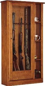 NEW Sporting Good Hunting Equipment Wooden Warm Brown Gun Cabinet w Glass Door