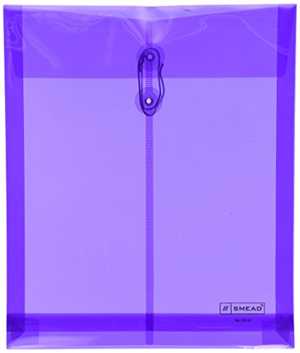 Smead Poly Envelope, 1-1/4 Inch Expansion, String-Tie Closure, Top Load, Letter Size, Purple, 5 per Pack (89544) (Poly Envelope Top Load compare prices)