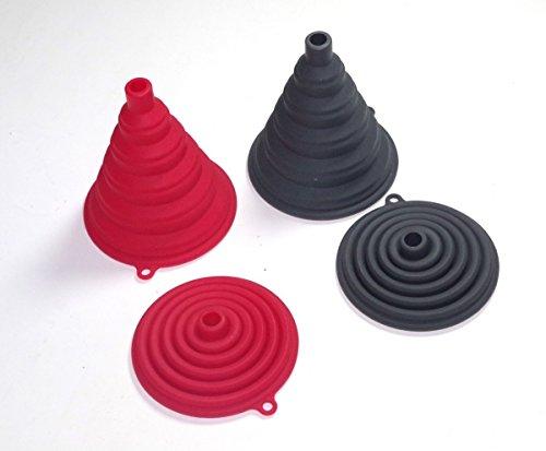 Entonnoir Silicone Noir [SANS Bisphénol A] (BPA) - 1 pièce - Petit et repliable manière accordéon - Idéale pour cuisine, pâtisseries, gâteaux - Résistante haute température - Qualité supérieure au plastique et caoutchouc