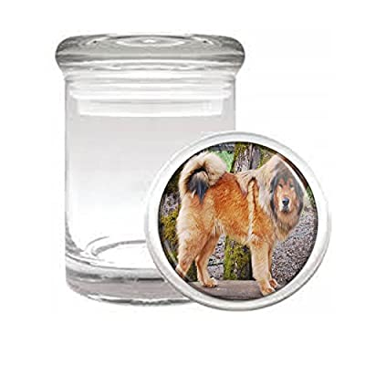 "Dog Mastiff Tibetan Medical Glass Jar 3"" x 2"" Herb & Spices"