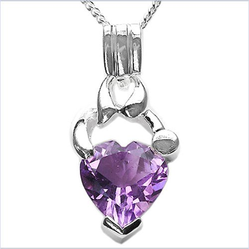 Jewelry-Schmidt-Collier / Necklace with Amethyst Heart Pendant Rhodium-925-Silver