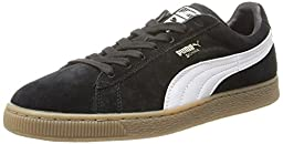 PUMA Suede Classic Leather Formstrip Sneaker,Black/White,8 M US