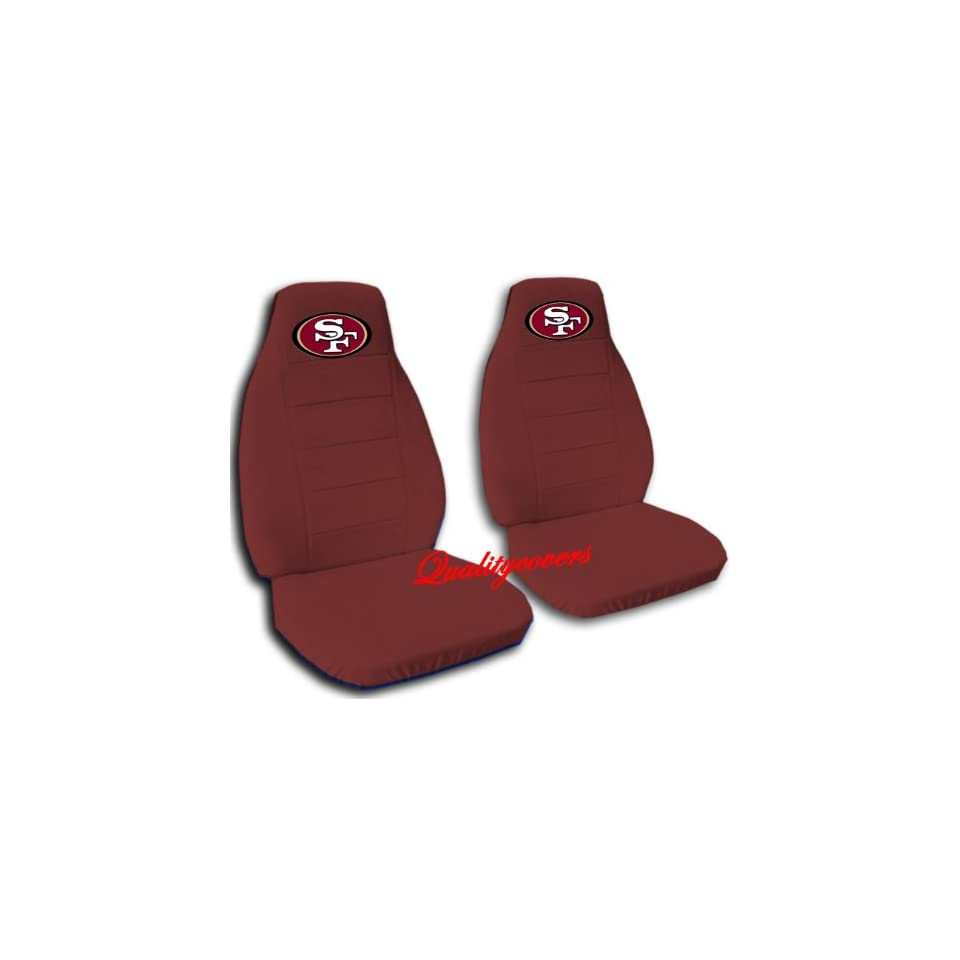 2 Burgundy San Francisco car seat covers for a 2002 Toyota Camry.