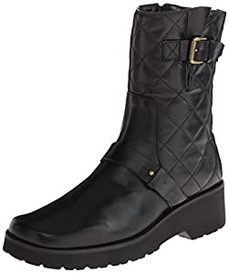 Anyi Lu Women's Adrian Motorcycle Boot,Black Nappa,38 EU/7.5-8 B US