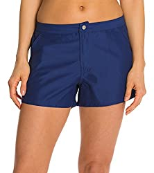 Cabana Life Women's Microfiber Swim Shorts, Blue, Medium