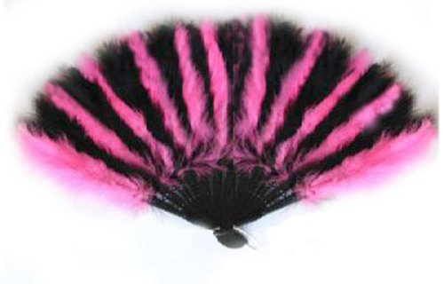 SACAS Large Hot Pink and Black Feather Hand Fan for costume, halloween, dance