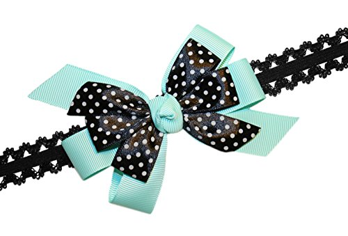 Webb Direct 2U Baby-Girls Black Dotted Grosgrain Hair Bow Headband Aqua 8009 front-798216
