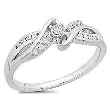 buy 0.15 Carat (Ctw) Sterling Silver Round Diamond Swirl Bypass Split Shank Bridal Promise Ring (Size 9)
