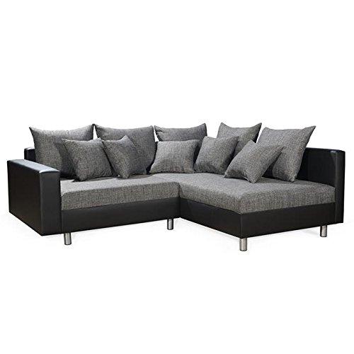 Ecksofa Eckcouch Couchgarnitur Sofa Couch JURI, in schwarz/grau, Ottomane rechts, 11 Sofakissen online kaufen