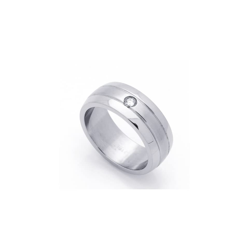8MM Stainless Steel Single CZ Bezel Set Wedding Band Ring (Size 8 to 14) Jewelry