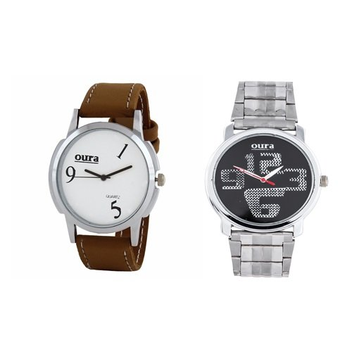 Oura White, Black Dial Analog Watch-COMBO-WB-0231-104