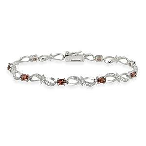 Sterling Silver Garnet & Diamond Accent Swirl Infinity Bracelet