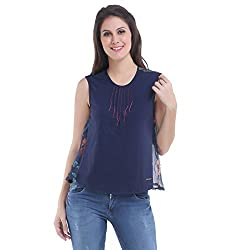 Meish Navy Blue Solid Top for Women