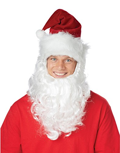 Santa Claus Christmas Hat with Attached Beard Holiday Costume Set