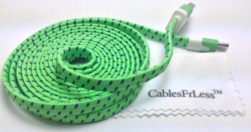 Cablesfrless (Tm) 6Ft Flat Braided Micro Usb Charging / Data Sync Cable Fits Most Android Phones And Tablets Samsung Galaxy S3 S4 Reverb Note Tab Google Nexus Kindle Nokia Lumia Htc One Asus Lg G2 Pantech Blackberry Motorola Sony Xperia Etc. (Green)