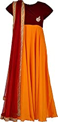 ZARASBOUTIQUE Women's Velvet & Net Chudidar (SKW122915944_2XL, Maroon and Yellow, 2XL)