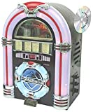 Steepletone USB MP3 CD Rock Mini LED Jukebox Home Audio Music System - Dark Cherry Wood Colour