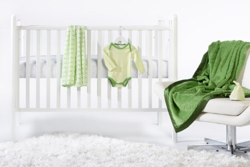 SwaddleDesigns 5 Piece Newborn Lightweight Crib Bedding Set with Cozy Blanket for Parents, Pure Green, 0-3 months