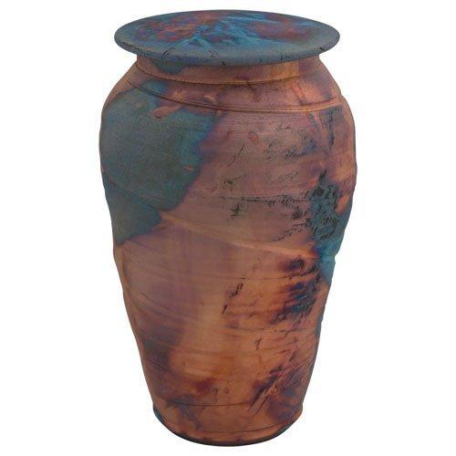 Blue Copper Fire Raku Ceramic Cremation Urn (Metallic Urn compare prices)