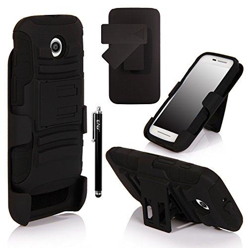 Moto E Case, Motorola E Case - E Lv Motorola Moto E Case Cover Shock-Absorption / High Impact Resistant Hybrid Dual Layer Armor Defender Full Body Protective Holster Case Cover With Belt Swivel Clip For Motorola Moto E Xt1021 / Xt1022 / Xt1025 With 1 E Lv
