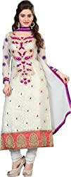 Cool women's Georgette Embroderied Unstitched Dress Material -1041_White_Freesize