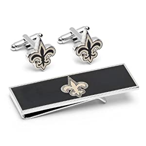 New Orleans Saints Cufflinks and Money Clip Gift Set by Cufflinks