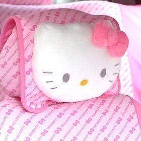 BIG Hello Kitty face Car Seat Soft Plush Head Pillow Cushion