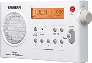 Sangean PR-D7 AM/FM Digital Rechargeable Portable Radio - White