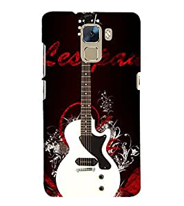White Electronics Guitar Cute Fashion 3D Hard Polycarbonate Designer Back Case Cover for Huawei Honor 7 :: Huawei Honor 7 Enhanced Edition :: Huawei Honor 7 Dual SIM