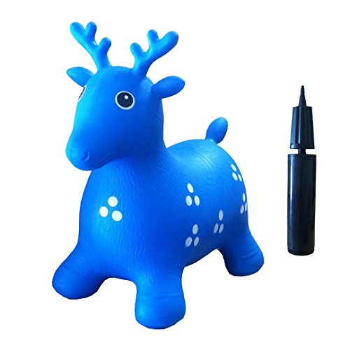 Inflatable Hopper #1 Rated and Cutest Bouncy Seat for kids on Amazon. Ruffio the Animal Deer Comes with a Free Bonus Pump. Safer Than Childrens Hopping Balls and Stick Horses - Made with USA Eco-Friendly Materials. 100% Lifetime Money-back Guarantee, Blue