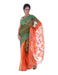 AB Women's Cotton Dhakai Jamdani Saree Traditional In Green N Orange , Border And Pallu With Self Weave And Zari...