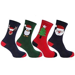 Mens Christmas Design Novelty Socks (Pack Of 4)