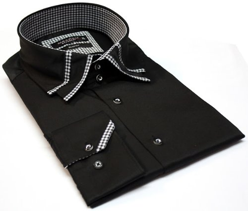 Men's Formal Casual Shirts Designed Collar Black Colour