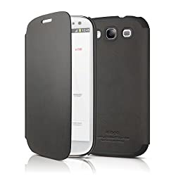 elago G5 Leather Flip Case for Galaxy S3 (Fits Verizon, AT&T, T-Mobile, Sprint and other Carriers) - Black + HD Professional film