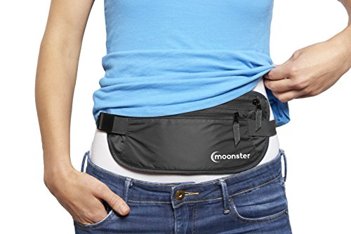 Moonster Money Belt Hidden Travel Wallet, Passport Holder for Men and Women, Rip-Stop Nylon Water Resistant Fanny Pack, Secure Pouch to Keep Passports, Currency, Keys, Jewelry & Credit Cards Safe (Bison Money Belt compare prices)