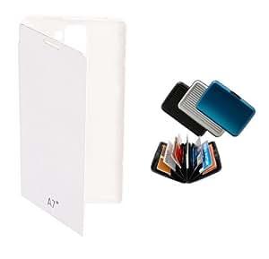 KolorEdge Flipcover + Alluma Wallet for karbonn A7+ - White