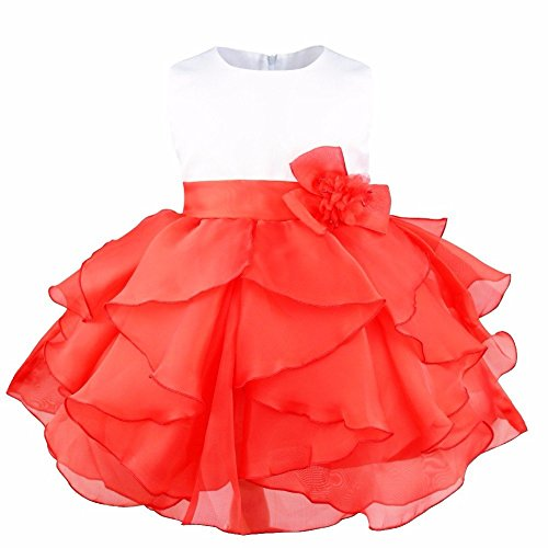 FEESHOW Baby Girls Organza Ruffle Wedding Party Christening Baptism Flower Dress Red 9-12 Months