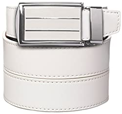 SlideBelts Men's Leather Belt without Holes - White Stripe Buckle / White Leather (Trim-to-fit: Up to 48