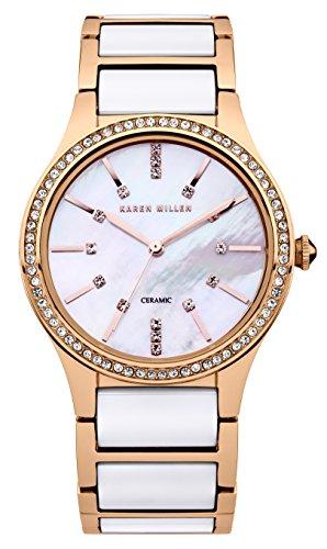 Karen Millen KM122RGM - Orologio da polso da donna, cinturino in acciaio inox colore oro rosa