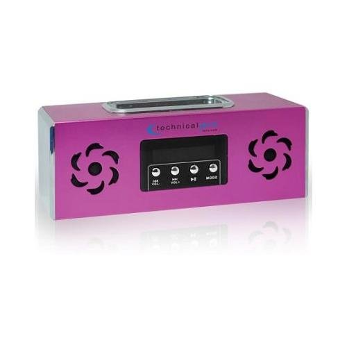Technical Pro Portable Battery Powered Speaker With Ipodtm Loading Dock & Usb Input (Pink)