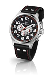 TW Steel Pilot Unisex Quartz Watch with Black Dial Chronograph Display and Black Leather Strap TW415